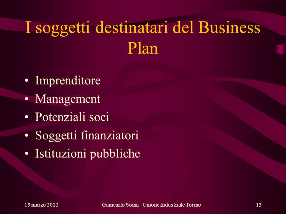 I soggetti destinatari del Business Plan