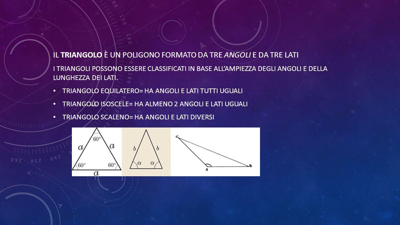 il triangolo è un poligono formato da tre angoli e da tre lati