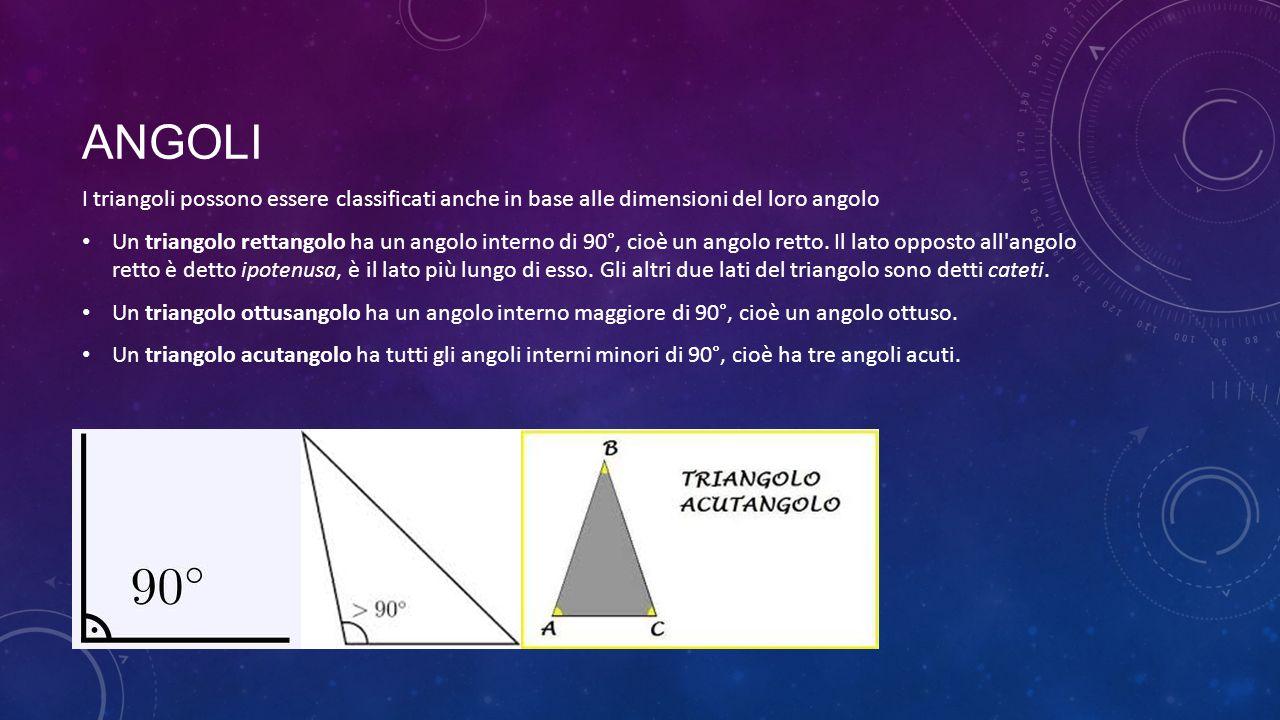 Angoli I triangoli possono essere classificati anche in base alle dimensioni del loro angolo.