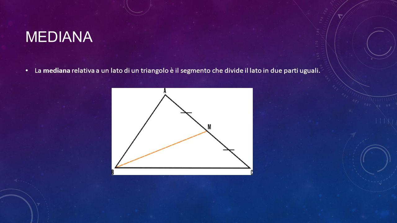 mediana La mediana relativa a un lato di un triangolo è il segmento che divide il lato in due parti uguali.