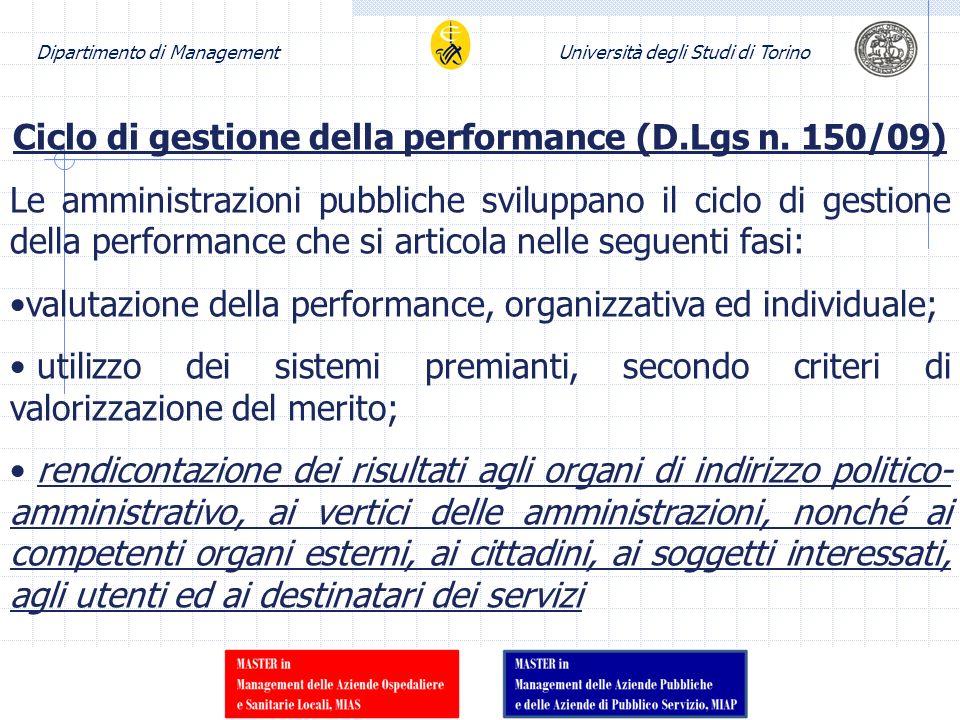 Ciclo di gestione della performance (D.Lgs n. 150/09)