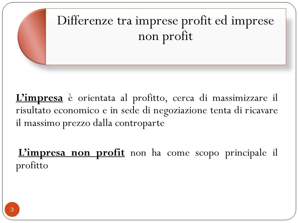 Differenze tra imprese profit ed imprese non profit
