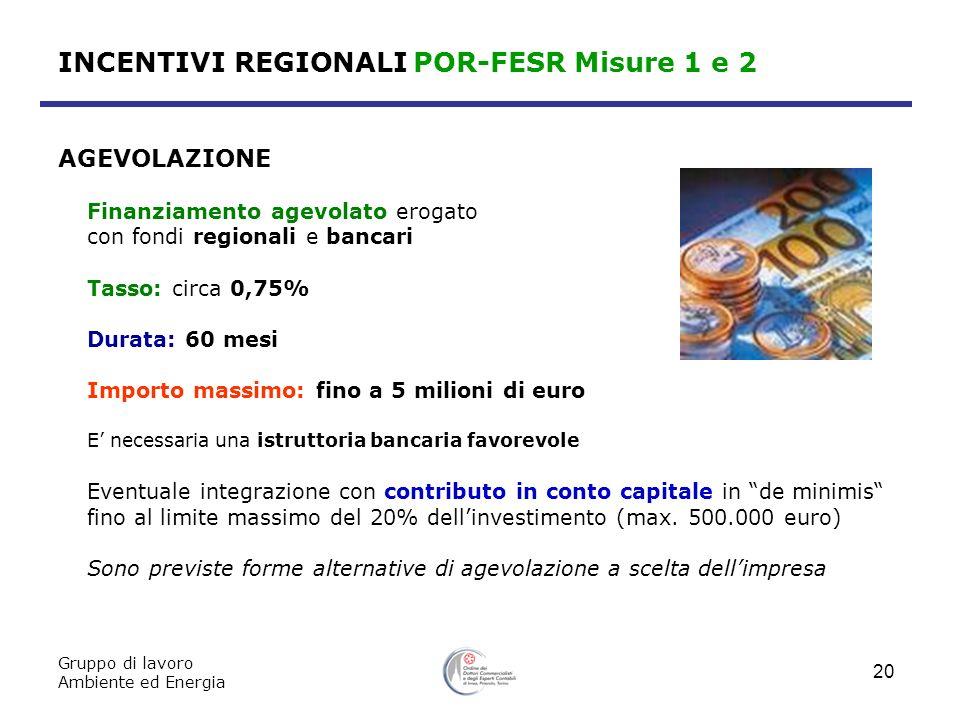 INCENTIVI REGIONALI POR-FESR Misure 1 e 2