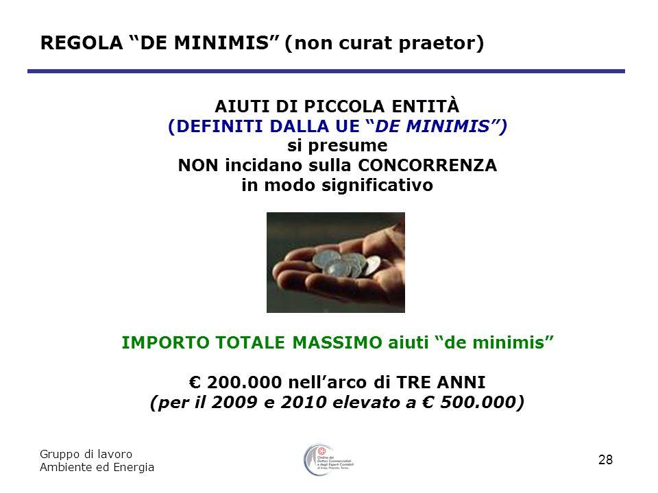 REGOLA DE MINIMIS (non curat praetor)