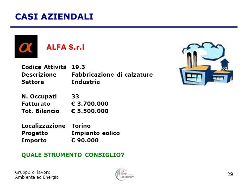 CASI AZIENDALI ALFA S.r.l Codice Attività 19.3