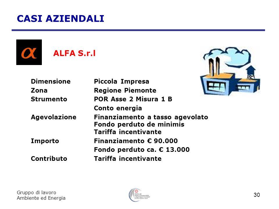 ALFA S.r.l CASI AZIENDALI Dimensione Piccola Impresa