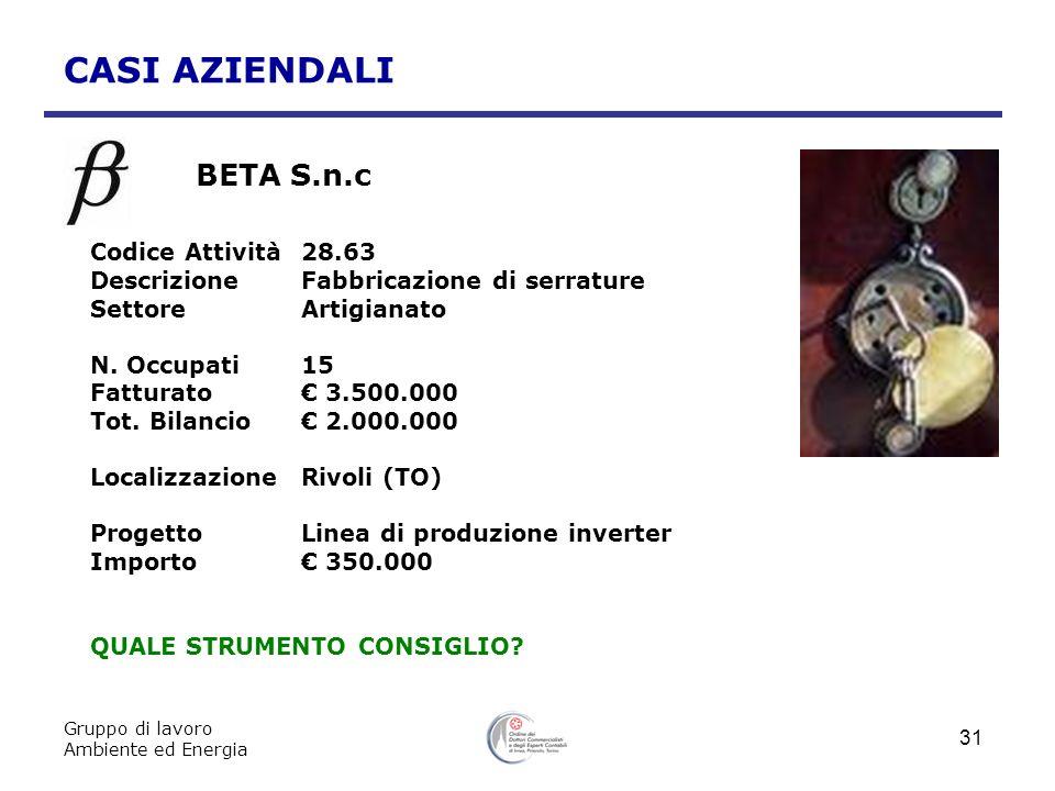 CASI AZIENDALI BETA S.n.c Codice Attività 28.63