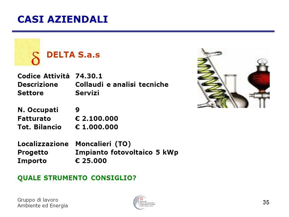 DELTA S.a.s CASI AZIENDALI Codice Attività 74.30.1