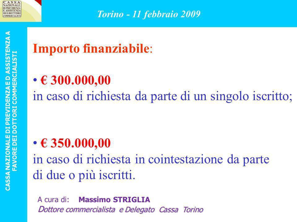Importo finanziabile: € 300.000,00