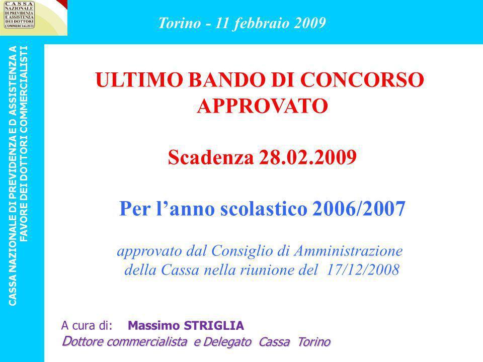ULTIMO BANDO DI CONCORSO Per l'anno scolastico 2006/2007