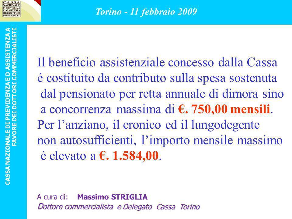 Il beneficio assistenziale concesso dalla Cassa