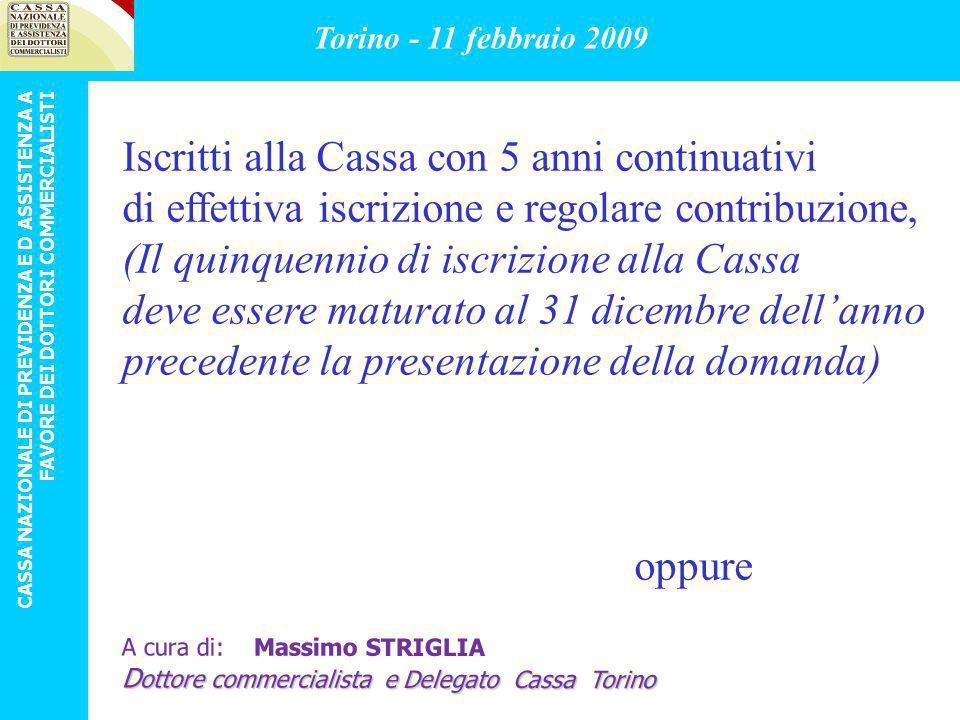 Iscritti alla Cassa con 5 anni continuativi