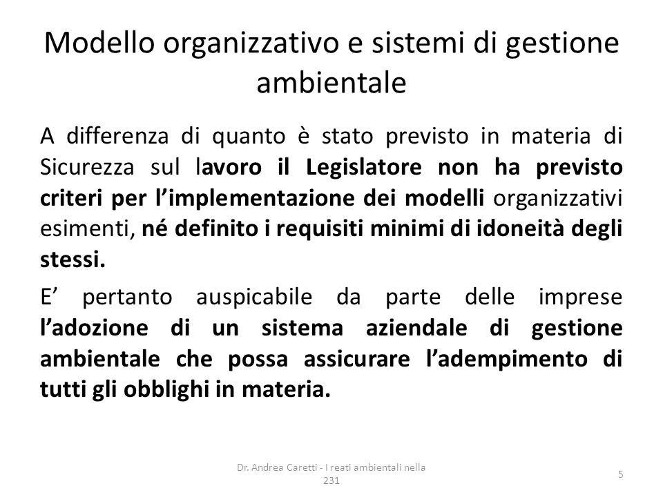 Modello organizzativo e sistemi di gestione ambientale