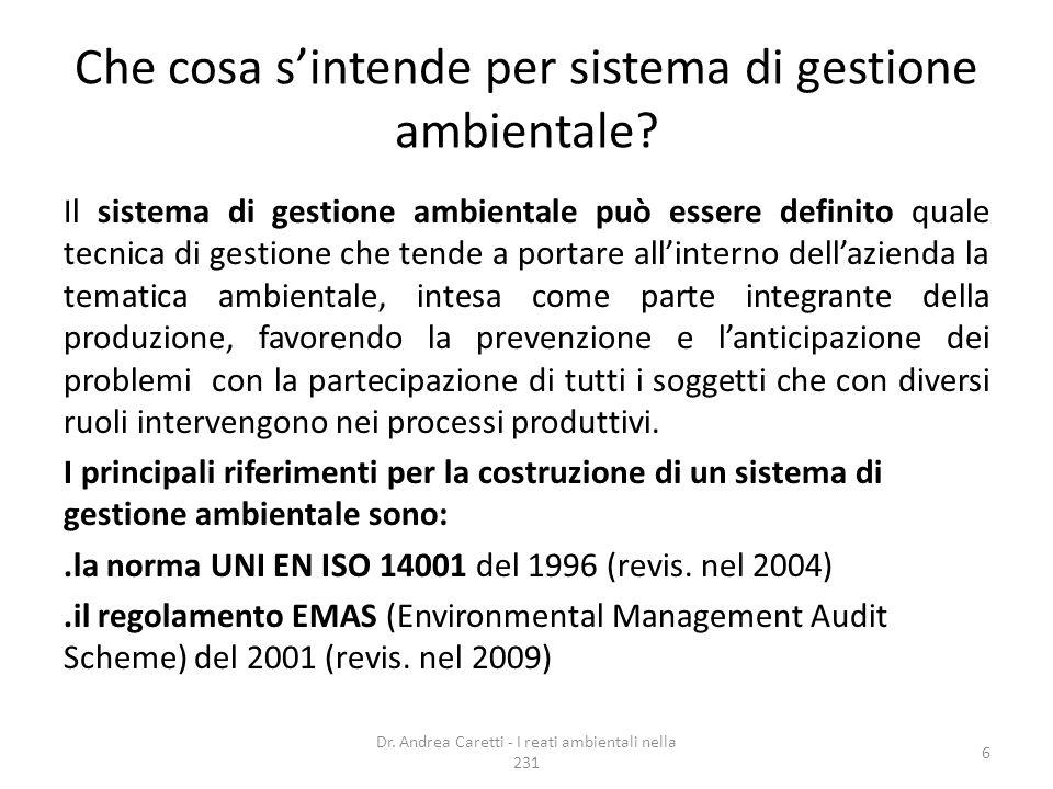 Che cosa s'intende per sistema di gestione ambientale