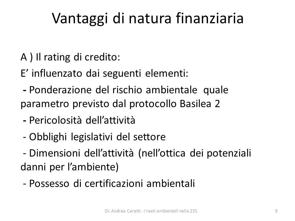 Vantaggi di natura finanziaria