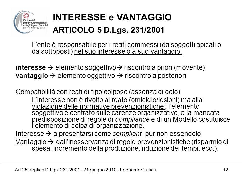 INTERESSE e VANTAGGIO ARTICOLO 5 D.Lgs. 231/2001