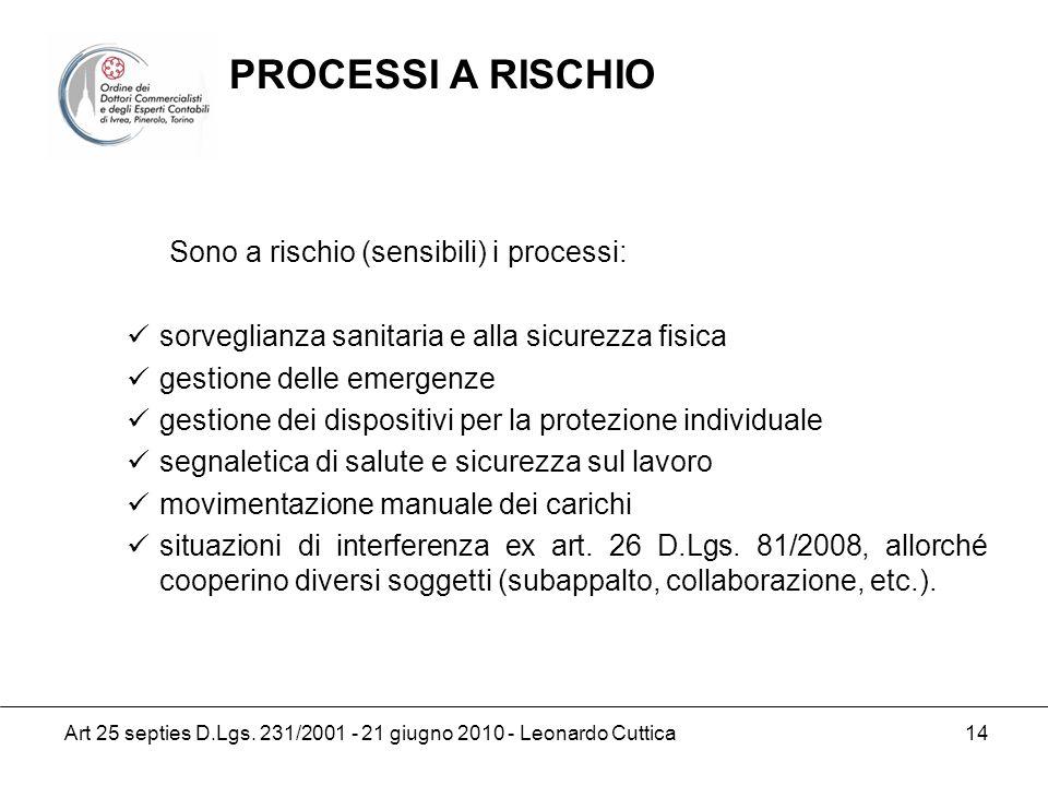 PROCESSI A RISCHIO Sono a rischio (sensibili) i processi: