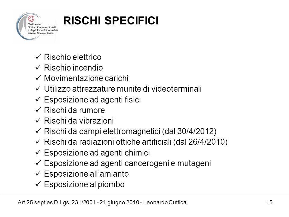 RISCHI SPECIFICI Rischio elettrico Rischio incendio