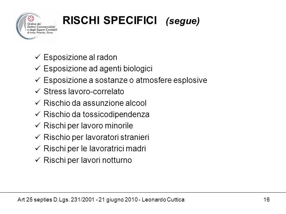 RISCHI SPECIFICI (segue)