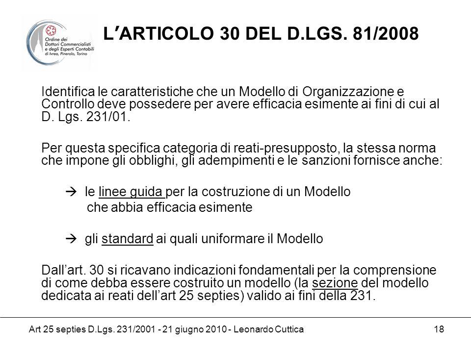 L'ARTICOLO 30 DEL D.LGS. 81/2008