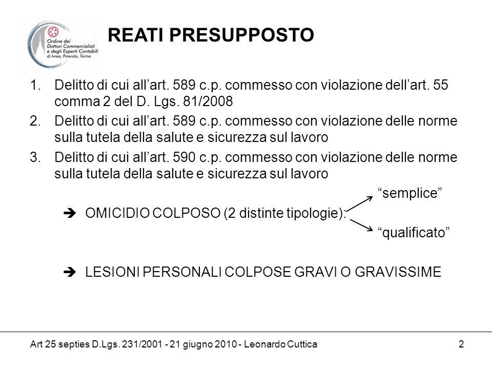 REATI PRESUPPOSTO Delitto di cui all'art. 589 c.p. commesso con violazione dell'art. 55 comma 2 del D. Lgs. 81/2008.