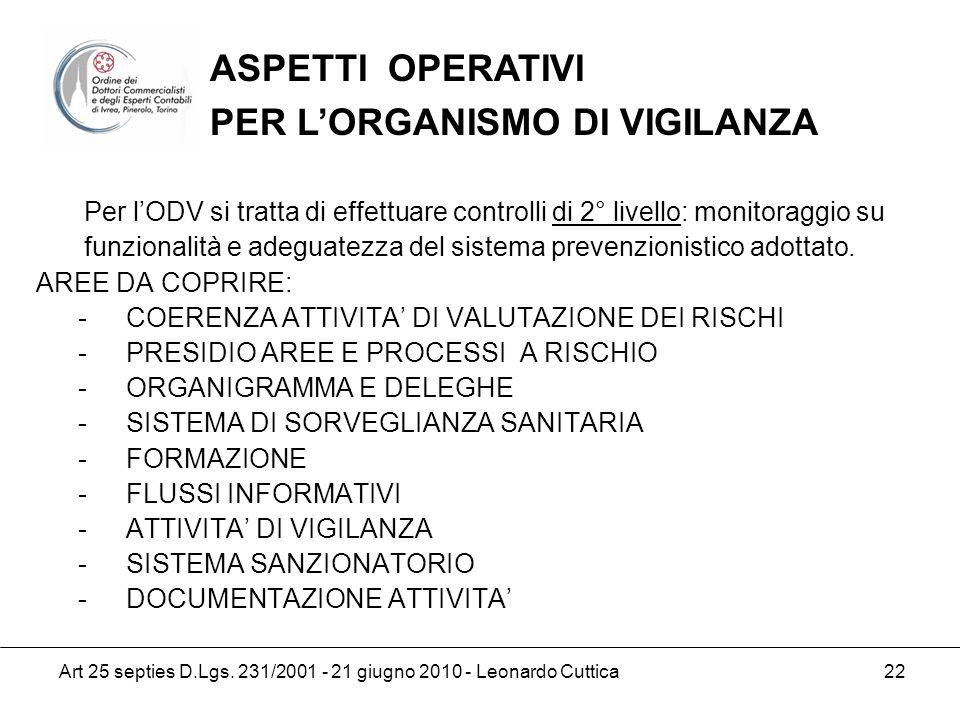 ASPETTI OPERATIVI PER L'ORGANISMO DI VIGILANZA.