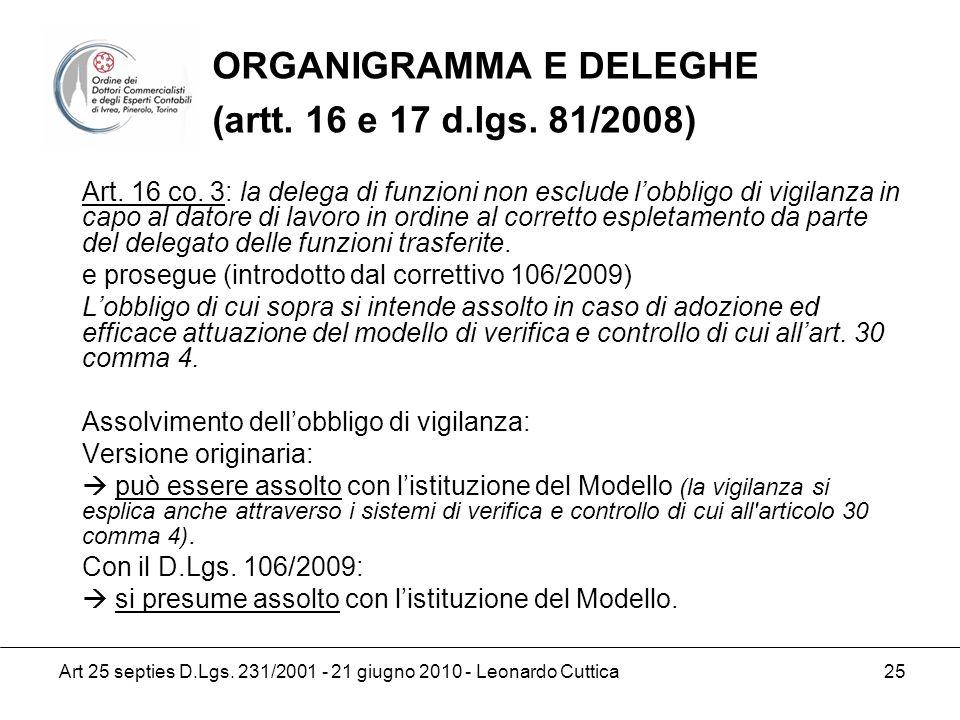 ORGANIGRAMMA E DELEGHE (artt. 16 e 17 d.lgs. 81/2008)
