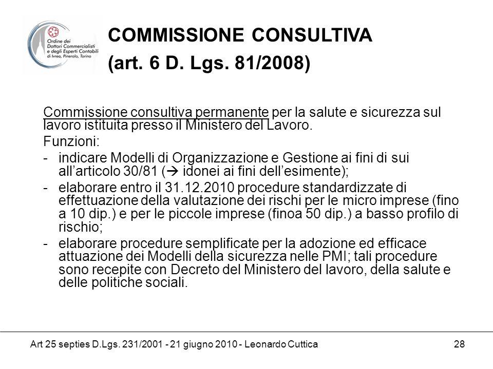 COMMISSIONE CONSULTIVA (art. 6 D. Lgs. 81/2008)