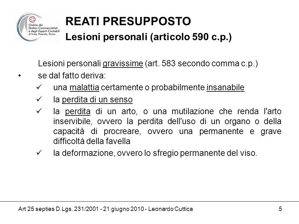 REATI PRESUPPOSTO Lesioni personali (articolo 590 c.p.)