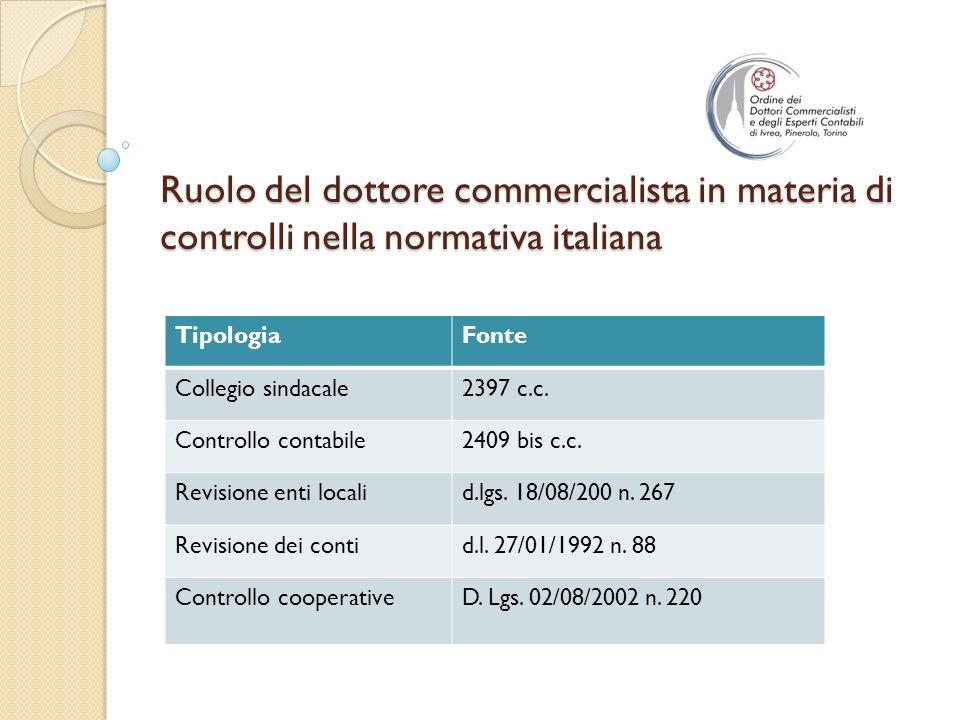 Ruolo del dottore commercialista in materia di controlli nella normativa italiana