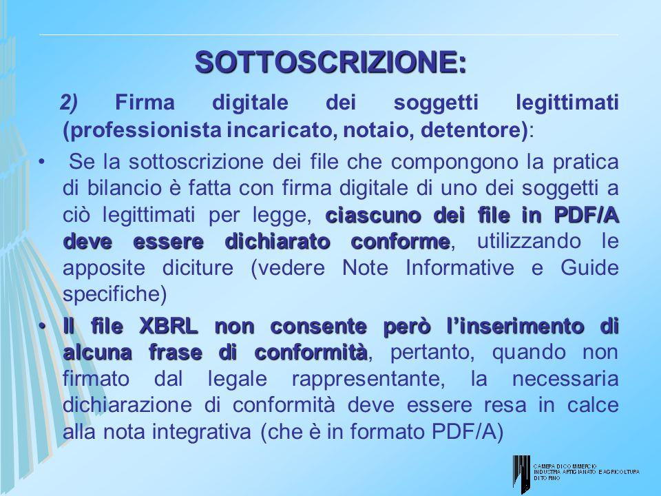 SOTTOSCRIZIONE: 2) Firma digitale dei soggetti legittimati (professionista incaricato, notaio, detentore):