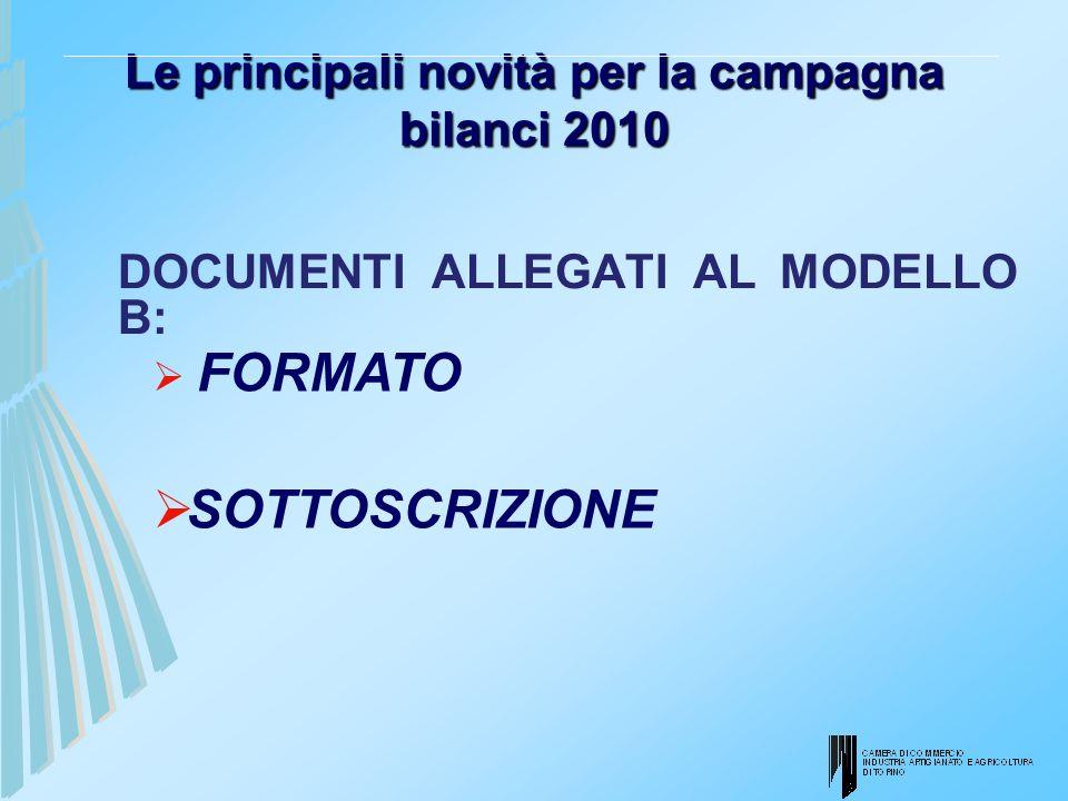 Le principali novità per la campagna bilanci 2010