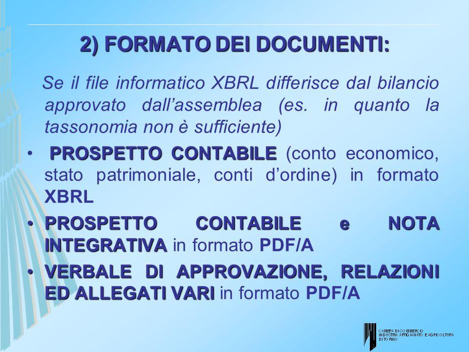 2) FORMATO DEI DOCUMENTI: