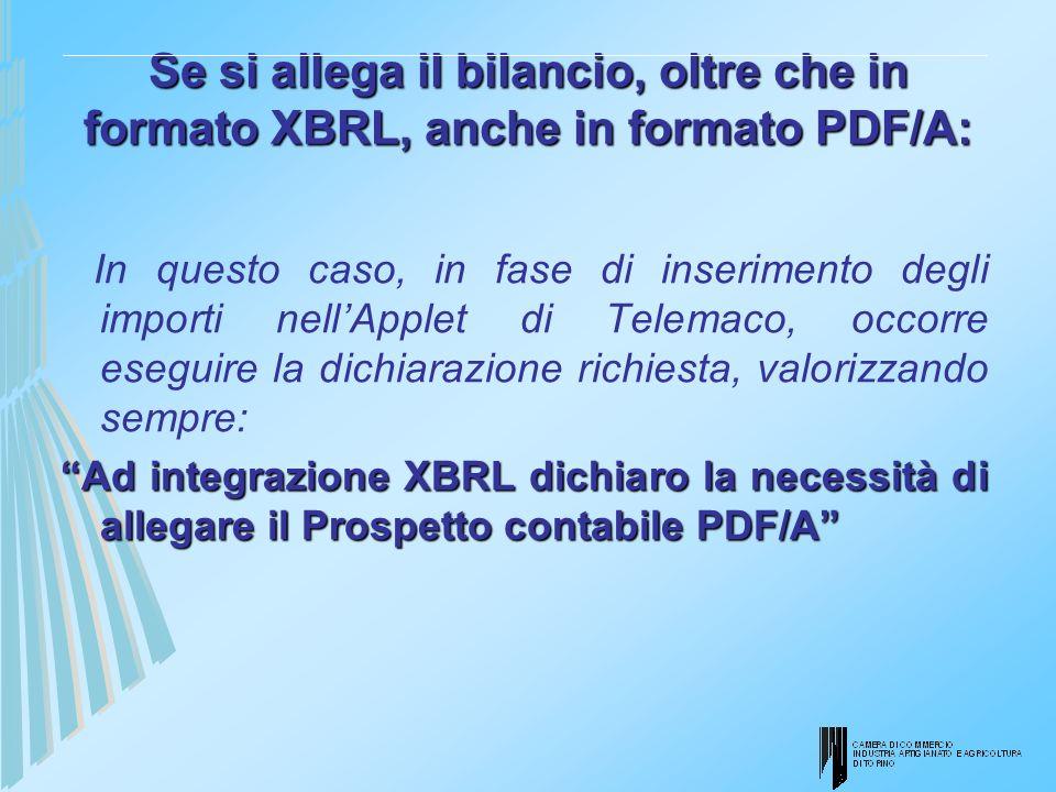 Se si allega il bilancio, oltre che in formato XBRL, anche in formato PDF/A: