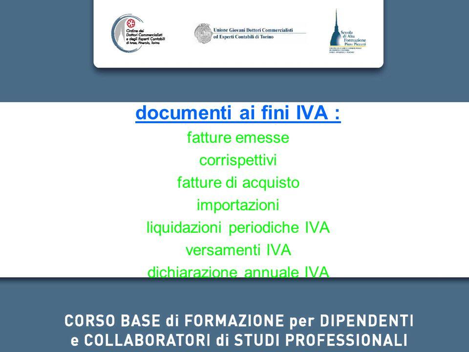 documenti ai fini IVA : fatture emesse corrispettivi