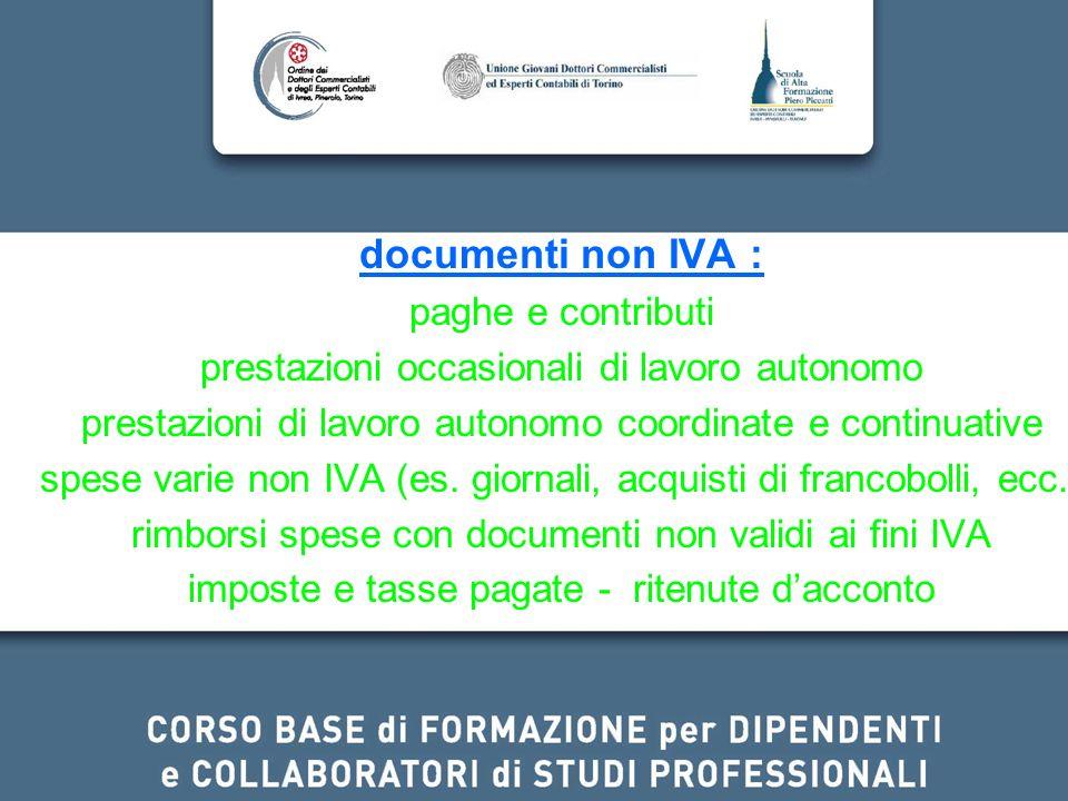 documenti non IVA : paghe e contributi
