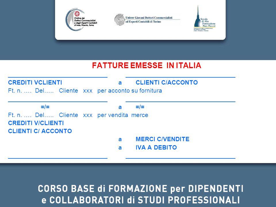FATTURE EMESSE IN ITALIA