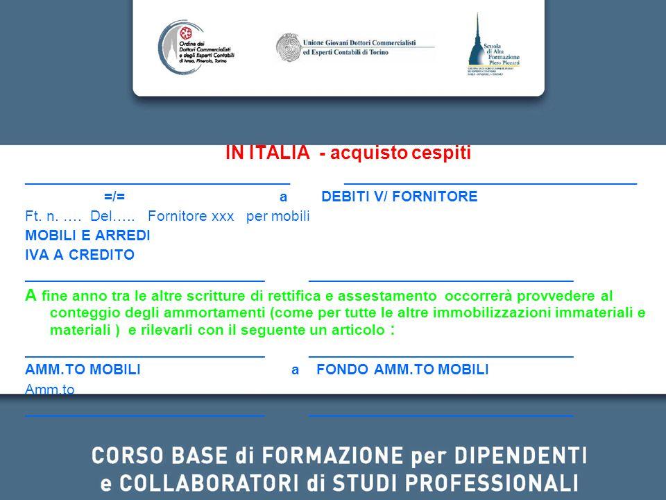 IN ITALIA - acquisto cespiti