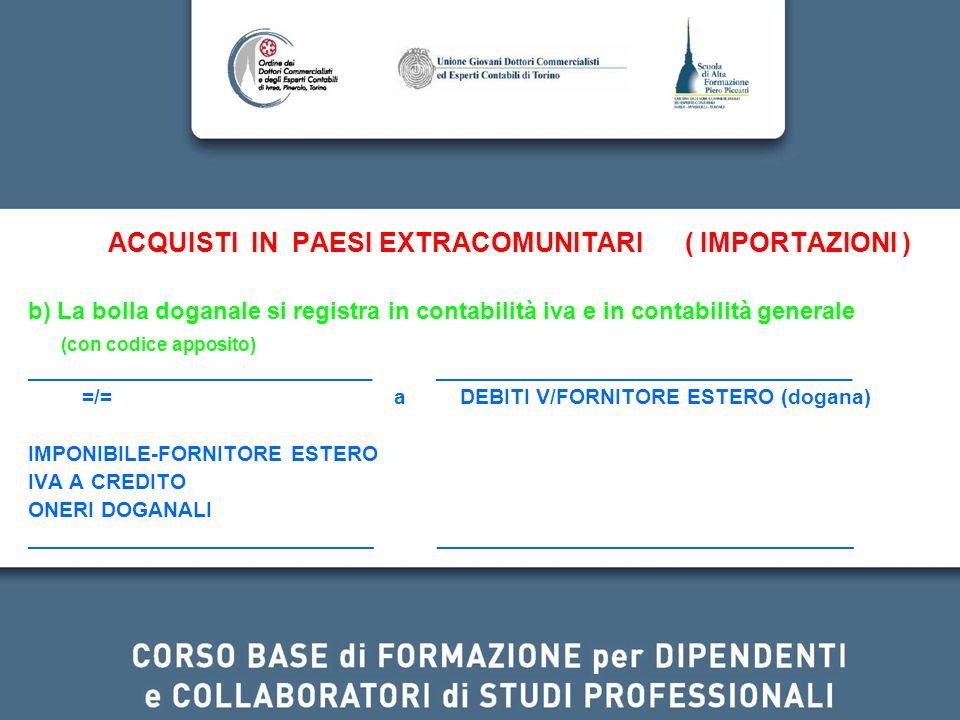ACQUISTI IN PAESI EXTRACOMUNITARI ( IMPORTAZIONI )