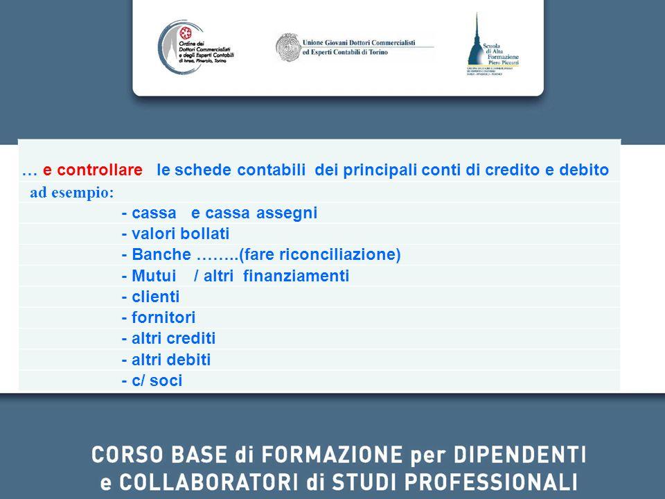 … e controllare le schede contabili dei principali conti di credito e debito