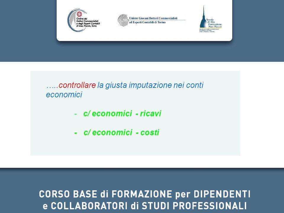 …..controllare la giusta imputazione nei conti economici