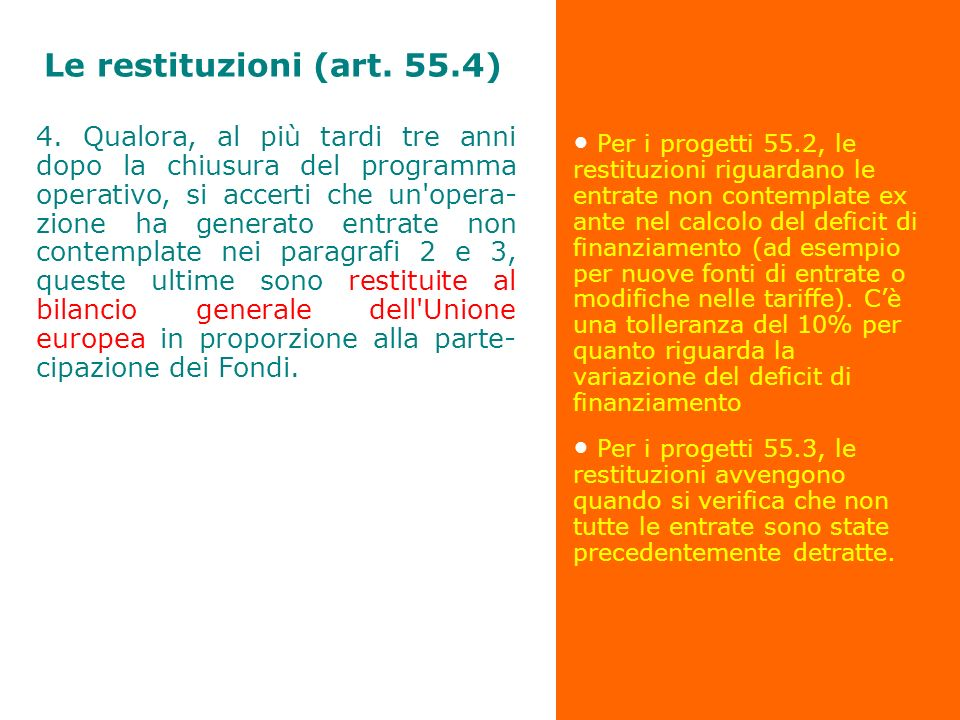 Le restituzioni (art. 55.4)