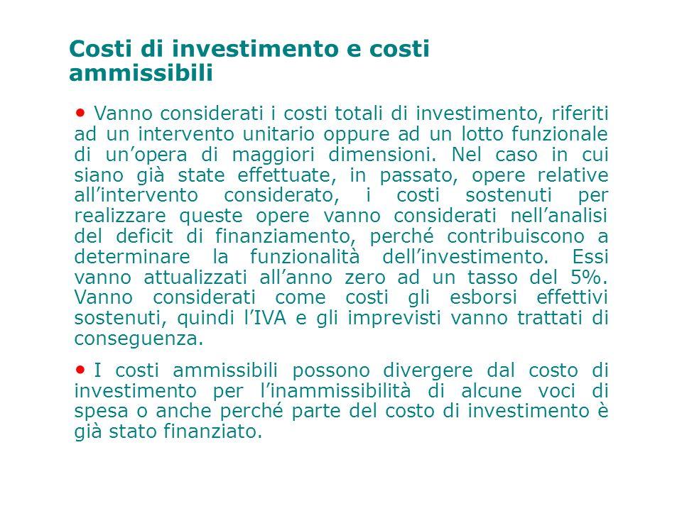 Costi di investimento e costi ammissibili
