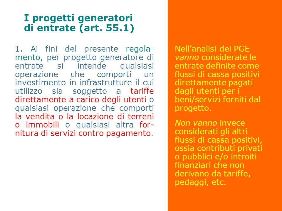 I progetti generatori di entrate (art. 55.1)