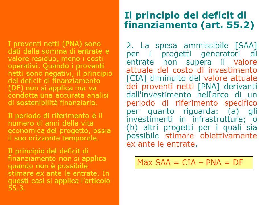 Il principio del deficit di finanziamento (art. 55.2)
