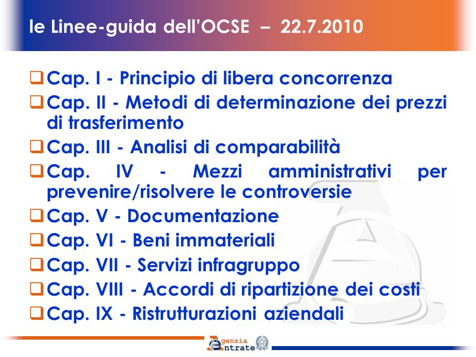 le Linee-guida dell'OCSE – 22.7.2010