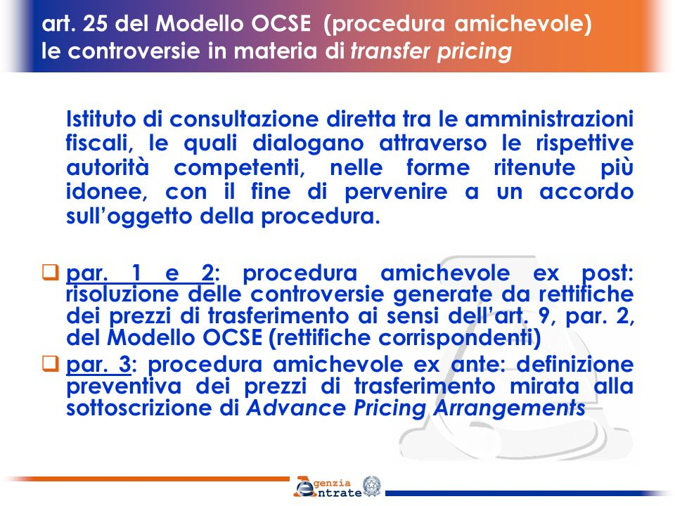 art. 25 del Modello OCSE (procedura amichevole) le controversie in materia di transfer pricing