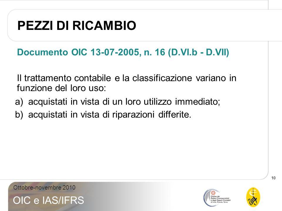 PEZZI DI RICAMBIO Documento OIC 13-07-2005, n. 16 (D.VI.b - D.VII)