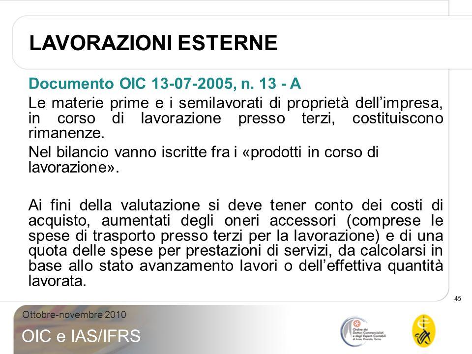 LAVORAZIONI ESTERNE Documento OIC 13-07-2005, n. 13 - A