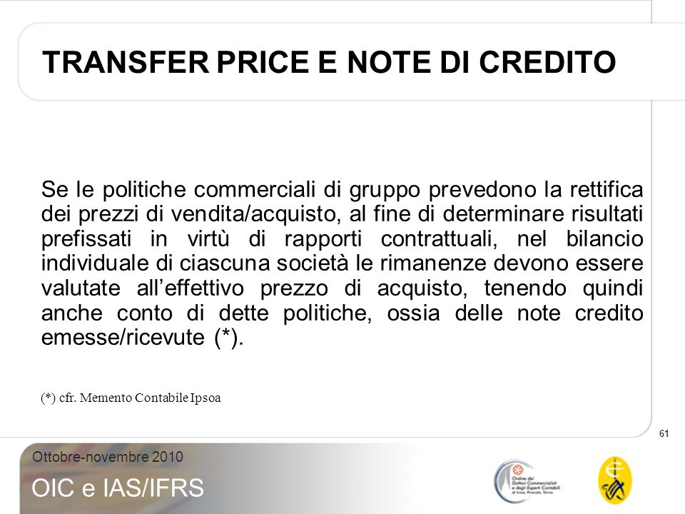 TRANSFER PRICE E NOTE DI CREDITO